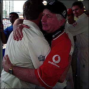 England coach Duncan Fletcher celebrates a 3-1 series win against the West Indies