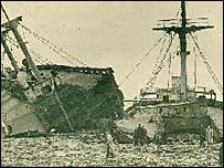 The wreckage of the Samtampa