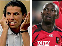 Milan Baros (left) and Cameroon's Stephane Mbia