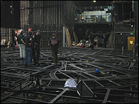 The stage under construction