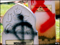 Defaced Muslim gravestones in a French military cemetery