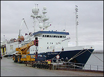 Oil research vessel