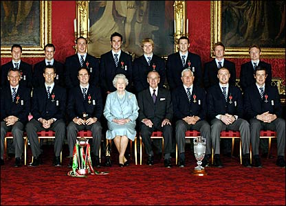 The England squad and the Queen