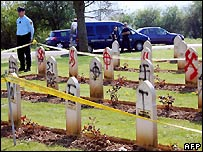 Desecrated graves of Muslim WWI soldiers near Arras in northern France