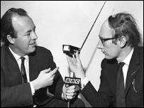 "BBC World Service series, 'The Young Idea"", Gordon Snell (left) talked to Clive Sinclair, the young man behind the growing electronics firm of Sinclair Radionics of Cambridge, 1967."