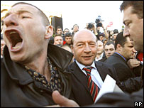 Supporters rally for ousted Romanian President Traian Basescu