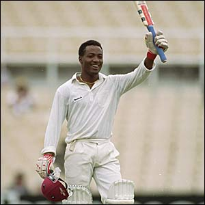 Brian Lara makes his first Test century for the West Indies in the third Test against Australia in the 1992/3 series