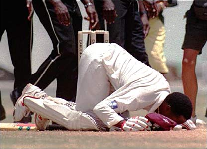 ara kisses the pitch in St John's Antigua in 1994 after passing Sir Garfield Sobers' Test record of 365
