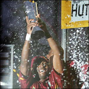 Brian Lara lifts the Champions Trophy