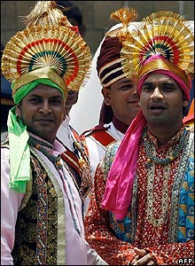 Wedding performers in traditional attire
