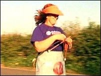 Susie Hewer running and knitting