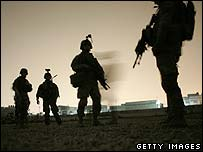 US troops from the 82nd Airborne division on a raid in Baghdad