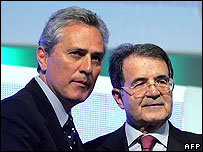 Margherita leader Francesco Rutelli (left) and Italian PM Romano Prodi