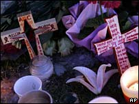 Tributes at makeshift memorial