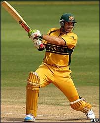 Australia's Matthew Hayden in action against New Zealand
