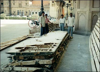 Remains of the plane being transported from India to the UK