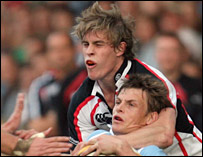 Ulster's Andrew Trimble was sin-binned for a high tackle on Ben Blair but also scored a try