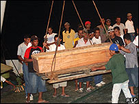 The coffin of a hostage beheaded in the Philippines