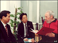 Fidel Castro (right) meeting a Chinese delegation in Havana