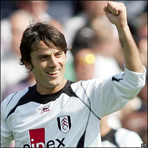 Montella celebrates after getting the final touch on a goal-bound effort