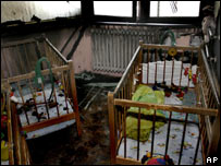 Cribs in an orphanage destroyed by fire in Sarajevo