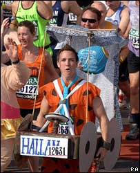 Runner dressed as Fred Flintstone