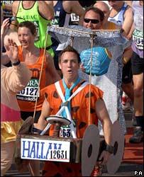 Runner dressed as Fred Flintstone