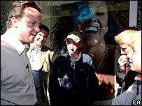 David Cameron and youngsters in Devon