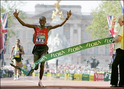 Kenyan Martin Lel takes the tape