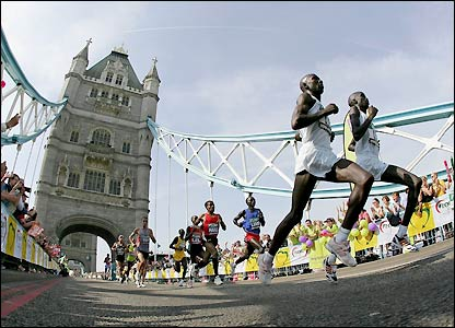 The runners cross Tower Bridge