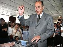 Jacques Chirac votando
