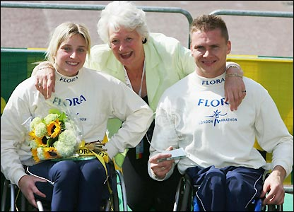 Former Olympian Mary Peters poses with the two winners