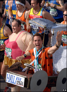 Fun runners in the London marathon