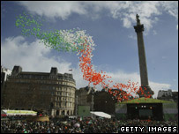 St Patrick's Day parade in Trafalgar Square