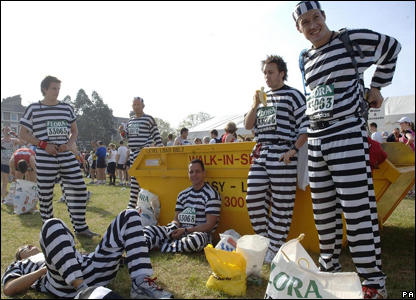 Fun runners dressed as convicts before the London Marathon