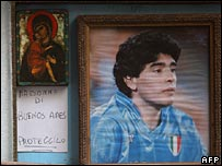 An altar in tribute to Maradona in Naples
