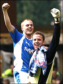 Sebastian Larsson and Colin Doyle celebrate victory