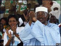 Malian President Amadou Toumani Toure campaigning for upcoming presidential elections