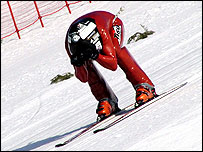 British speed skier Nigel Brockton in action