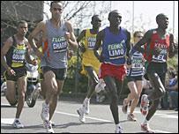 (Left to right) Abderrahim Goumri, Jaouad Gharib, Paul Tergat, Felix Limo and Martin Lel