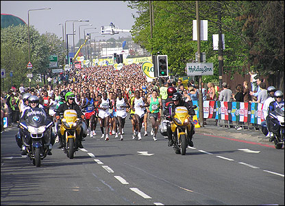 The start of the London marathon.