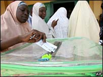 A woman casts her ballot in Katsina, northern Nigeria