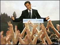 Nicolas Sarkozy addresses supporters