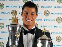 Cristiano Ronaldo with his two awards