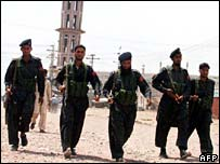 Pakistani frontier constables patrol at in Bara