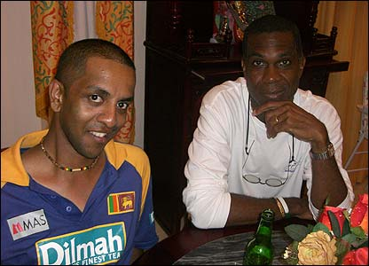 Dayalan Mahesan's photo shows him meeting legendary West Indies bowler Michael Holding in a restaurant in Georgetown, Guyana