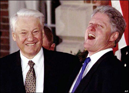 Boris Yeltsin with US President Bill Clinton at the G7 summit in 1997