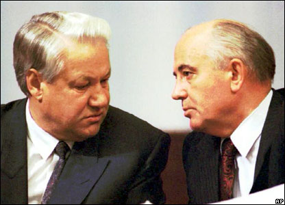 Boris Yeltsin and Mikhail Gorbachev in 1991