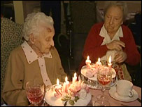 Mary Doherty (left) and Maggie Redmond celebrating their birthdays