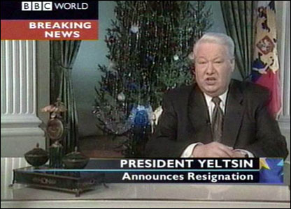 Russian President Boris Yeltsin announcing his resignation in 1999.  He hands powers over to Prime Minister Vladimir Putin.